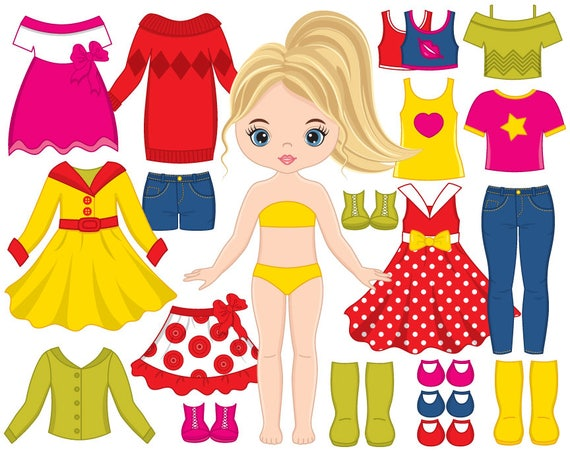 paper doll clipart vector dress doll clipart girl clipart rh etsy com paper doll clothes clipart paper doll clothes clipart