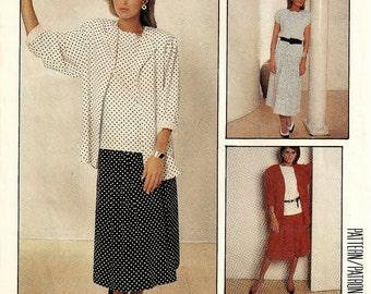 "A Shirttail Hemline Jacket, Sleeveless Top & Pleated Yoke Skirt Pattern for Women: Uncut - Sizes 10-12-14 Bust 32-1/2"" - 36"" • McCall's 3059"