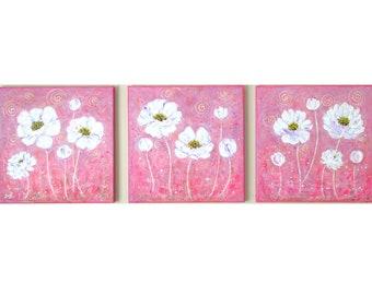 Abstract Flowers Pink Canvas Art 3 piece Wall Art Modern wall decor Floral Wall Art Set Pastel Home Decor White Flowers Bedroom Wall Art
