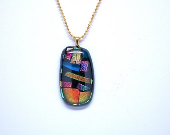 Blue Original Fused Glass Necklace, Dichroic Glass Necklace, Iridescent Pendant, Necklace, Pendant, Dichroic Pendant, Colorful Fused Glass