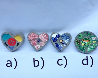 Mosaic fridge magnets, heart and circle shapes