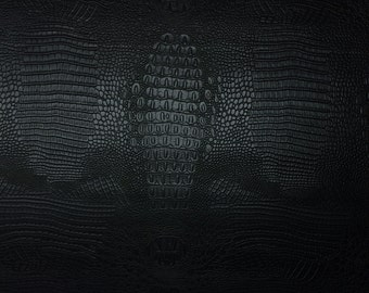 "Vinyl EMBOSSED CROCODILE BLACK Crock Faux Leather Upholstery Craft Fabric By the Yard 54""w"
