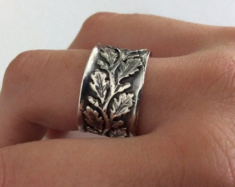 Leaves ring, leaf band, Vine ring, Sterling silver ring, Leaf silver ring, wide silver band, oxidized ring, wedding band - Connected R2093S