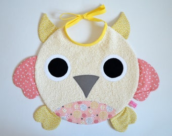 Terry baby bib girl OWL!