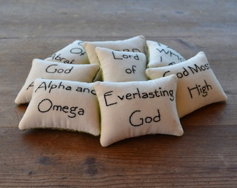 Names of God Decorative Pillows, Religious Bowl Fillers, Alpha Omega Bible Tucks, Christian Home Decor, Black Tan Gingham, Hand Embroidery