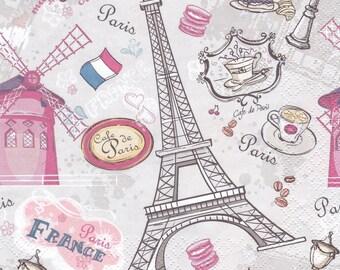 6 Decoupage Paper Napkins Paris, Moulin rouge, France, Eiffel Tower, Cafe de Paris, Muffins, Croissants. Craft Paper Napkins set of 6 pcs