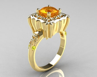Modern Antique 10K Yellow Gold 1.0 Carat Yellow Citrine Yellow Topaz Engagement Ring AR116-10KYGYTCI