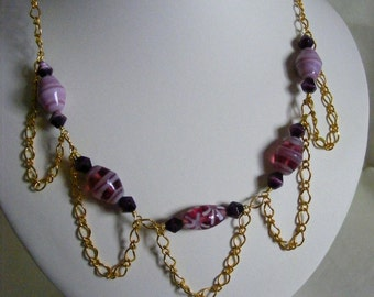 Pale Pink and Dark Purple Necklace