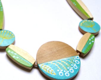 Hand painted scandinavian style natural wood statement necklace - spring green yellow whet teal limited edition