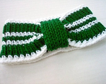 Ear Warmer Headband Cheerleader Sports College Kelly Green and White Ear Warmer earwarmer team gear alumni pride