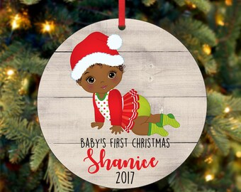 Baby's Girl First Christmas Ornament, Personalized Christmas Ornament, Custom Ornament, African American Christmas Ornament (0048)