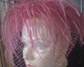 vintage 1950s hot pink ostrich fascinator hat veil
