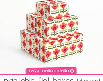 "Small printable flat boxes ""Isidorine"", 3 sizes, download"