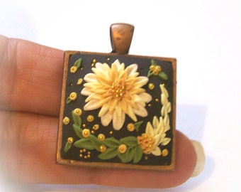"Creamy Yellow Mum Flower on Black Pendant, 3D, Hand Sculpted Relief, 1"" Copper Bezel, 24"" Copper Chain"