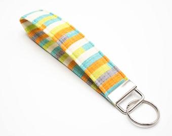 Fabric Keychain, Key Fob Wristlet, Key Fob Keychain Wristlet, Key Wrist Strap, Stocking Stuffer Women Gift Under 10 Gift for Her Key Lanyard