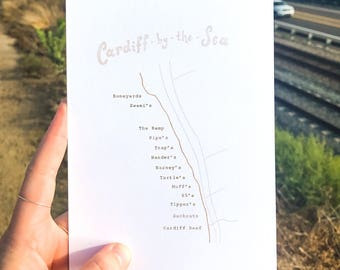 5x7 Cardiff Surf Map