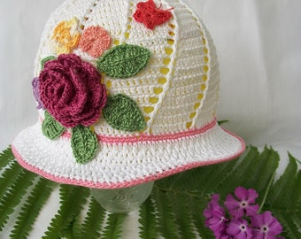 Crochet sun hat, Girls sun hat, Girls summer hat, Flower hat, Panama hat
