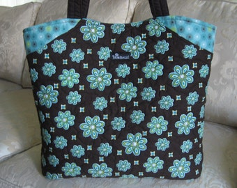 Quilted Tote, Large Tote, Michael Miller Fabric, in Brown and Blue-Green