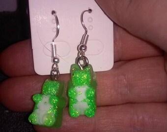 gummy bear earrings #3  neon green glow in dark flower