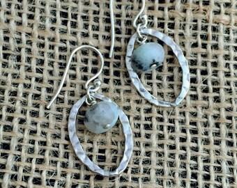 Sterling Silver Earrings - Sesame Jasper - Silver Earrings - Gemstone Dangle - READY TO SHIP