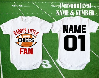 Chiefs baby etsy chiefs baby daddys little chiefs fan customized personalized name number bodysuit funny kansas city baby child negle Choice Image