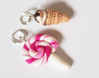 Lollipop Stitch Marker Ice Cream Stitch Marker ( food stitch markers mini food charm miniature food polymer clay )