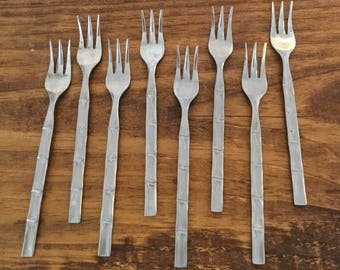 Bamboo Pattern Seafood Vintage Forks By Lifetime Cutlery Stainless Japan