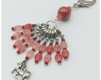 Snag free removable stitch marker set of 9 in silver and red with beaded stitch mark holder-gift for knitters-crochet jewelry-