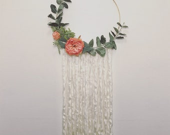 Floral Wall Hoop, Flower Wall Art, Flower Wall Decor