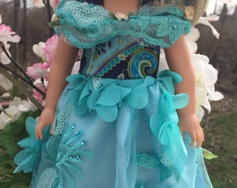 Wellie wishers doll dress 14.5 handmade fancy gown fits wishers doll dress, aqua-3D Embossed fabric