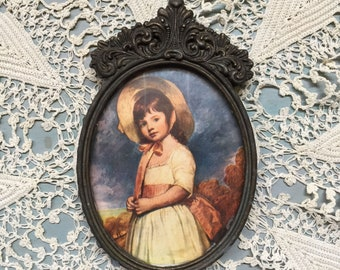 Hand painted vintage miniature picture, Victorian, Victorian child, vintage Italian ornate gild frame, Old Masters Miniature, Brass