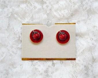 Gold Tone Red Glazed Enamel Hat Vintage Earrings