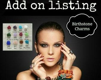ADD-ON CHARM, Additional, Drop Charms, Birthstone Charms, Crystal charms, 6mm Crystal,