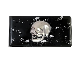 Skull Money Clip Inlaid in Hand Painted Glossy Black Enamel Silver Splash Design Inspired with Personalized and Color Options