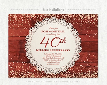 40th wedding anniversary invitation ruby red wedding 40th wedding anniversary invitation ruby anniversary party invitation red glitter confetti lace doily rustic stopboris Image collections