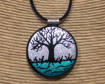 Hand Etched Tree Necklace, Silver and Teal Dichroic Necklace, Tree of Life Pendant, Fused Glass Jewelry - Silver Maple - 3720 -2