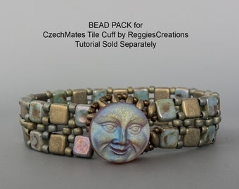 Moon Face BEAD PACK BB-39 for CzechMates Tile Cuff, Tutorial by ReggiesCreations Sold Separately, BB39 Bead Pack