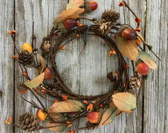 Fall Candle Ring with Acorns, Pine Cones, Leaves and Berries