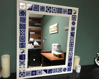 Mexican Folk Art Ceramic Talavera Tile  Decorative Wall Mirror