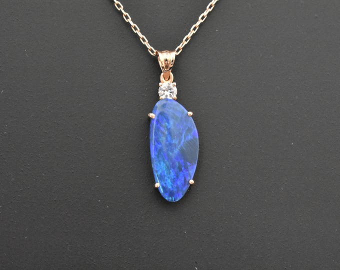 14K Rose Gold Natural Boulder Opal and Diamond Pendant | Unique Gift | Gifts for Her | Opal Necklace | Handmade Fine Jewelry