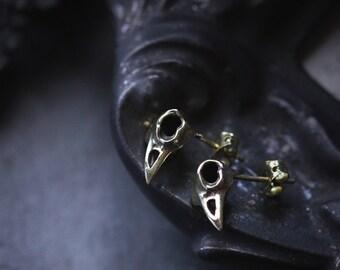 Raven Skull Stud Earrings By Defy / Bird Skeleton Jewelry / Unique Handmade Jewelry