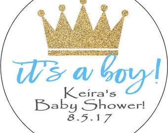 12 Printed & Mailed baby shower prince Party Stickers 2.5 inch Round Personalized  prince crown Gold shower