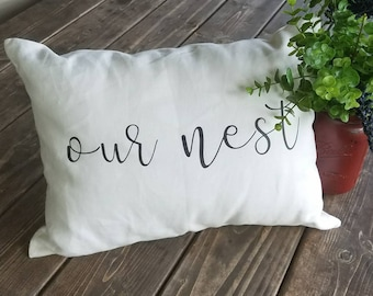 Our Nest Farmhouse Couch Decorative Pillow