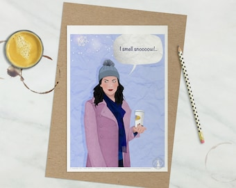 "Lorelai Gilmore Poster - Gilmore Girls Poster, TV show poster, Gilmore Girls illustration, ""I smell snow"" quote, Coffee addict, Lorelai snow"