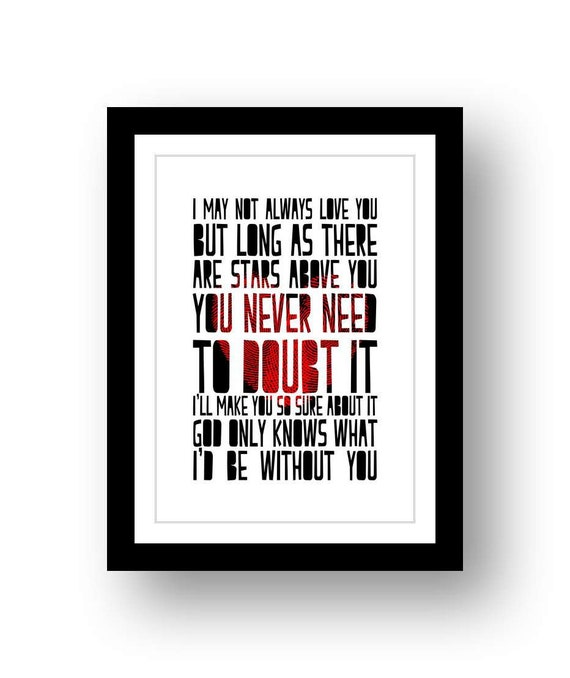 BEACH BOYS God Only Knows typography poster art print
