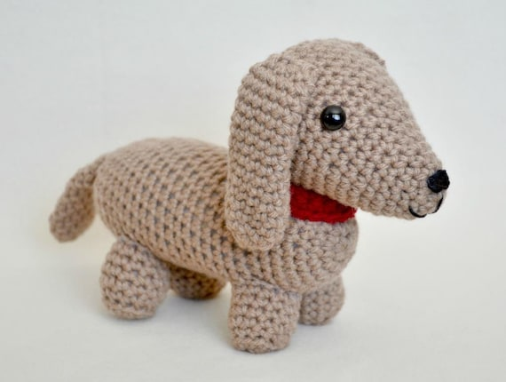 Amigurumi Wiener Dog Pattern : Crochet pattern dudley the dachshund amigurumi stuffed animal