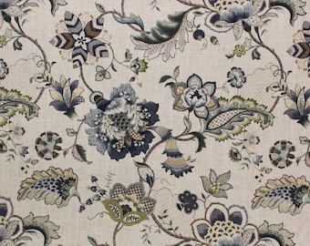 Fabric Jacobean Floral Blue, By Country Curtains, Linen Fabric  For  Drapery, Bedding