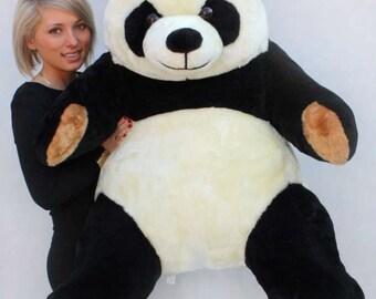 Grande panda di peluche nero 100cm morbido