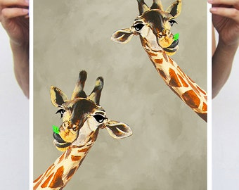 Giraffe Print, Giraffe print from my original painting, giraffe decor, Giraffes with leaf, original creation by Coco de Paris