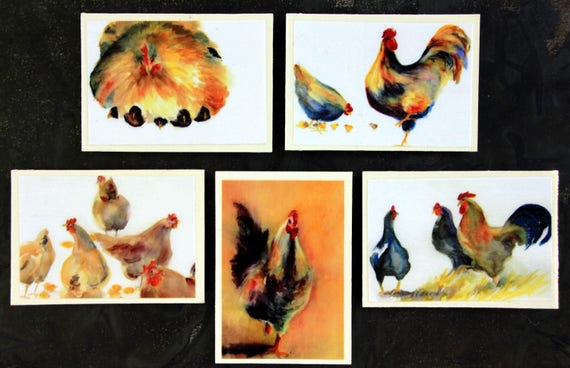 Chicken Magnets - Bonnie White watercolor prints turned into 5 2 1/2x3 1/2 decorative magnets